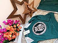 Костюм для девочки  Little star 5-13 лет Сова металлик бирюза розовый