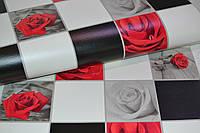 Обои на стену, винил,супер мойка, красная роза, плитка, черно-белая, B49.4 Алмаз 5507-10, 0,53*10м