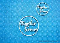 """Чипборд Надпись """"Together Forever"""" (мал.) в круглой рамке"""