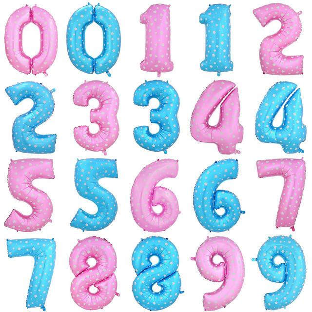 Цифры 16 дюймов/42 см малиновые и синие с рисунком