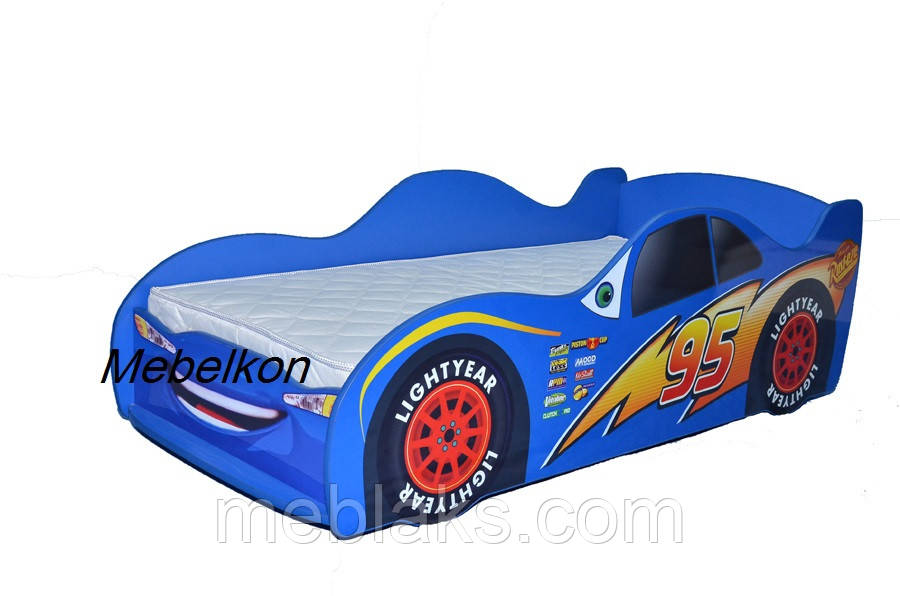 Кроватка машина Молния Маквин синяя Mebelkon