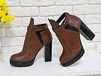 Супер популярні Черевики з натуральної шкіри світло-коричневого кольору, фото 1