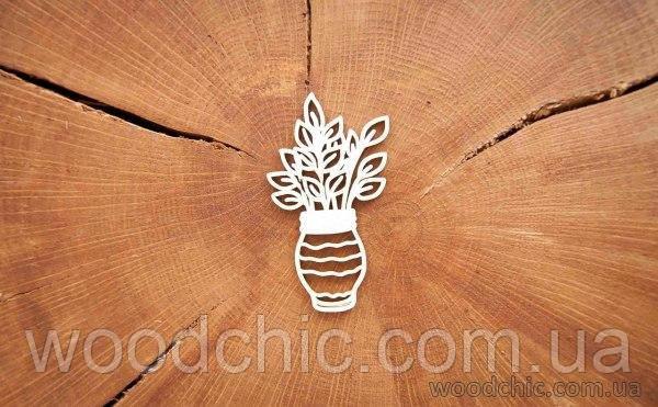 Чипборд Весенняя листва в вазе 1