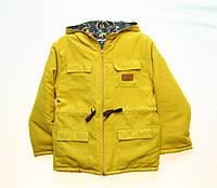 Детская демисезонная куртка парка горчичная 116р