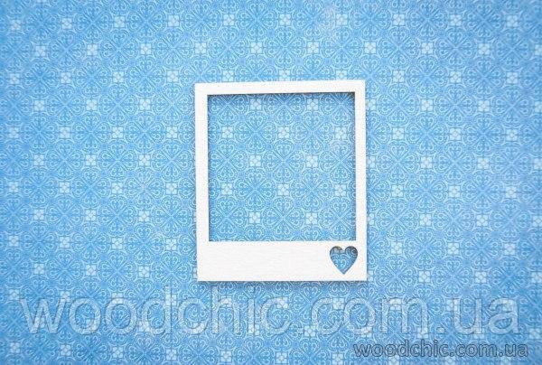Чипборд рамка полароид с сердечком