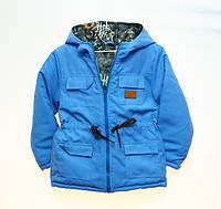Детская демисезонная куртка парка синяя 104р