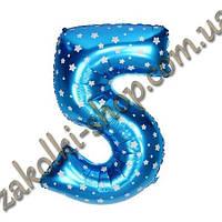 """Фольгированные воздушные шары, цифра """"5"""", размер 16 дюймов/42 см, цвет: голубой металлик с белыми звездочками,"""