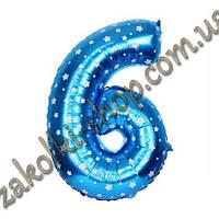 """Фольгированные воздушные шары, цифра """"6"""", размер 16 дюймов/42 см, цвет: голубой металлик с белыми звездочками,"""