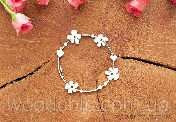 Чипборд Венок весенний с цветочками