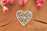 Чипборд Ажурное сердце  с ветками и цветами