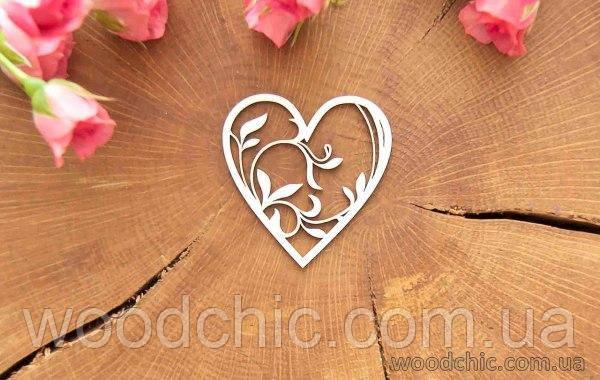 Чипборд Сердце с веточкой