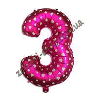 """Фольгированные воздушные шары, цифра """"3"""", размер 16 дюймов/42 см, цвет: розовый металлик с белыми сердечками,"""