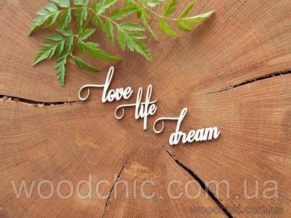 """Чипборд """"Love life dream"""""""