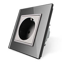 Розетка с заземлением Livolo 16А серый стекло (VL-C7C1EU-15), фото 1