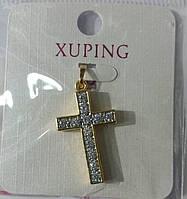60 Подвеска крест в стразах. Позолоченные кулоны Xuping оптом