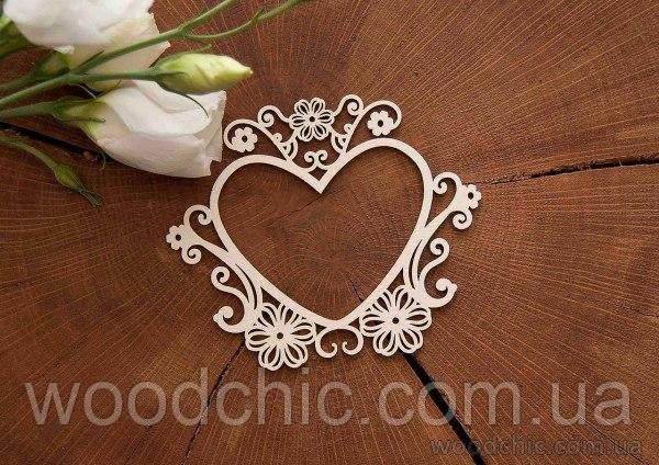 Чипборд Рамка Сердце цветочное
