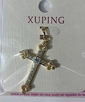 61 Подвески кресты в стразах. Позолоченные кулоны Xuping оптом