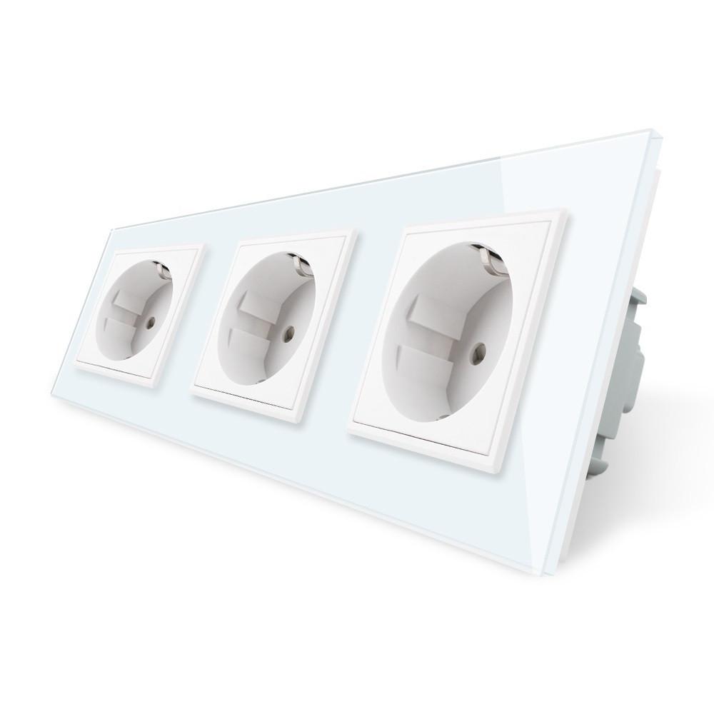 Розетка тройная с заземлением Livolo цвет белый рамка стекло (VL-C7C3EU-11), фото 1