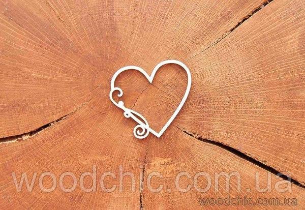 Чипборд Сердце с завитком