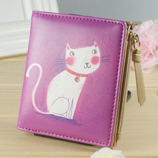 Женский кошелек котик розовый