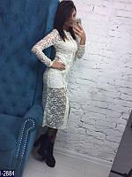 Стильное белое платье двойка. Кружево стрейч, стрейч трикотаж Арт-12695