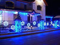 Уличная Новогодняя Уличная Светодиодная Снежинка LED 40 см Цвет Синий Белый