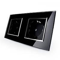 Розетка двойная с заземлением Livolo, цвет черный хром, материал стекло (VL-C7C2EU-12C), фото 1
