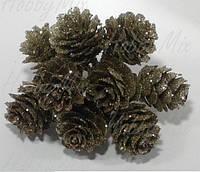 Шишки натуральная на проволочке в блестках (сосна) 3 шт