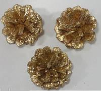 Шишки натуральные в золотистых блестках 3 шт.