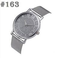 Женские кварцевые наручные часы / годинник серебристого цвета с металическим браслетом (163)
