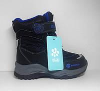Зимние детские термоботинки черно-синие 30р.