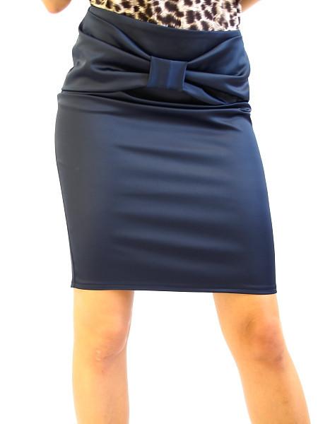Атласна жіноча спідниця синя