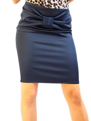 Атласная женская юбка синяя
