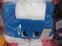 Детский теплый удобный махровый халат Зайка с ушками, голубой халатик махровый на мальчика.