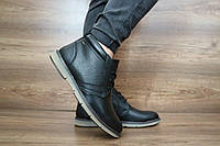 Мужские зимние ботинки Yuves (черный), ТОП-реплика, фото 1