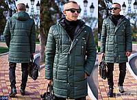 Куртка мужская удлиненная  на синтепоне зеленая. Арт-13107