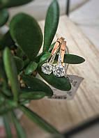 Серьги из серебра с золотой вставкой и камнями, фото 1