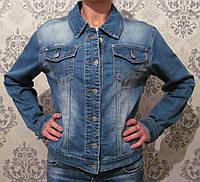Модная джинсовая куртка с потертостями Турция. Артикул: 18027-BK