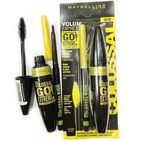 Тушь для ресниц Maybelline Colossal Go Extreme Leather Black + карандаш