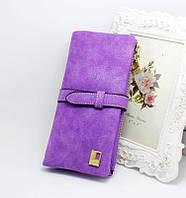 Женский нежный замшевый кошелек фиолетового цвета