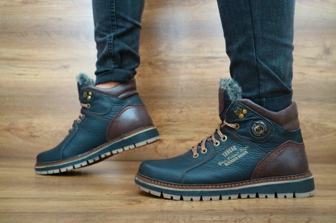 Мужские зимние ботинки Zangak (черный\коричневый), ТОП-реплика