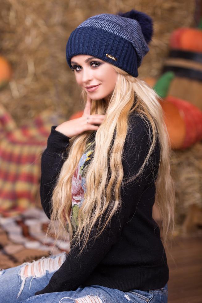 Мила темно-синя зимова шапка з бомбоном Esma