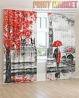 Фото шторы красно-черный Лондон