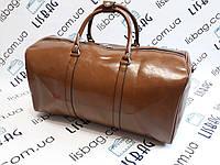 Дорожная сумка кофе кожа PU толстая плюс ремень на плече