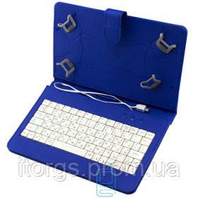Чехол-клавиатура 7 дюймов Micro USB уголки-магнит Синий
