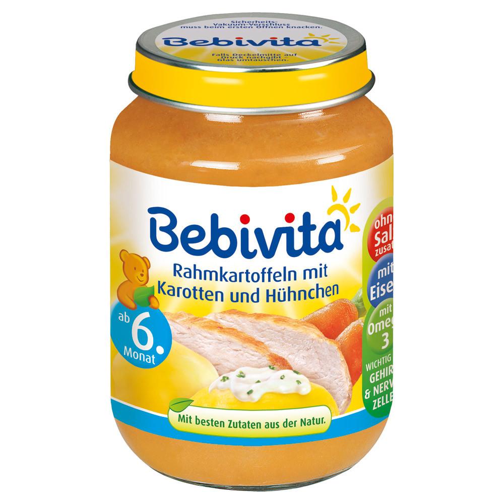 Bebivita  Menü Rahmkartoffeln mit Karotten & Hühnchen - картофель с морковью и курицей с 6 месяцев 190 г