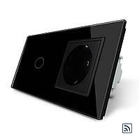Сенсорный радиоуправляемый выключатель с розеткой Livolo черный стекло (VL-C701R/C7C1EU-12), фото 1