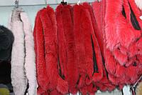 Мех на капюшон пуховика, куртки из хвостиков песца красного цвета 70 см