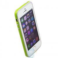 Чехол бампер для iPhone 5 Bampers салатово-серый