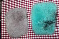 Карманы из песца бирюзовые (цена за пару) 20х15 см